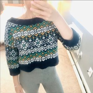 UO bdg Navy Blue fair isle cropped sweater